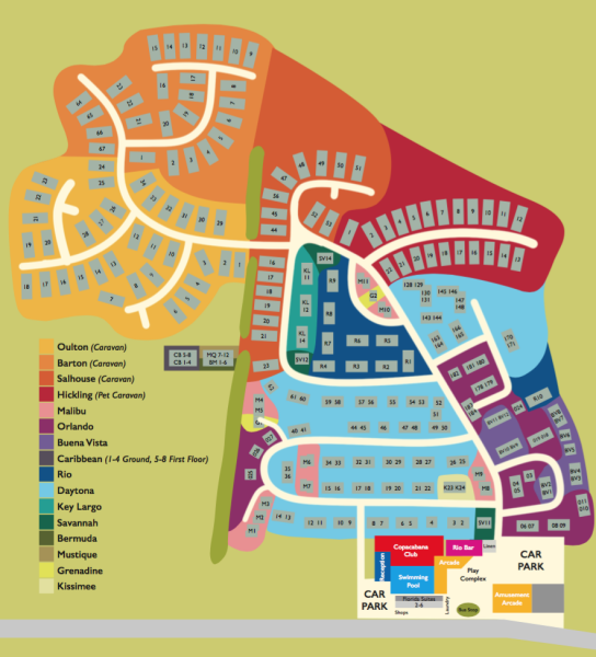 Hemsby beach accommodation map